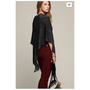 Sweaters - Black Lurex Mix Knit Poncho Sweater NEW
